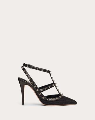 Valentino Rockstud Ottoman Fabric Leather Ankle Strap Pump 100 Mm Women Black Lambskin 100% 35