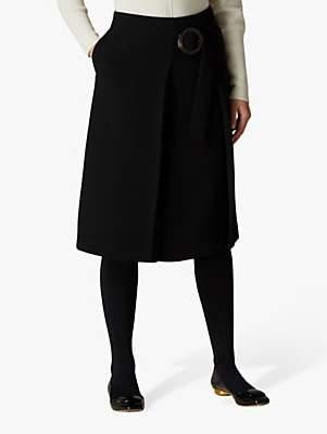 Jaeger Crepe Belted Skirt, Black