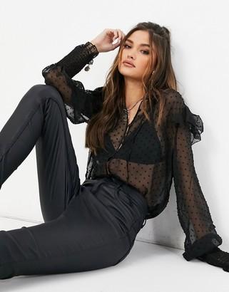 NA-KD dobby mesh frill blouse in black