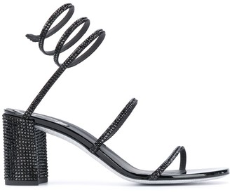 Rene Caovilla Spiked Spiral-Ankle Sandals