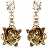 Betsey Johnson Gold Rose Drop Earrings