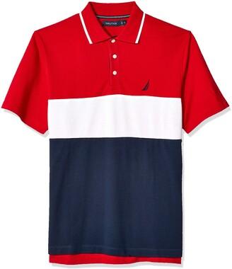 Nautica Men's Short Sleeve 100% Cotton Pique Color Block Polo Shirt