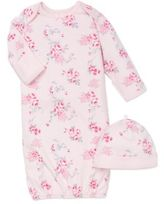 Little Me 2-Piece Scroll Rose Long-Sleeve Gown and Hat Set in Pink