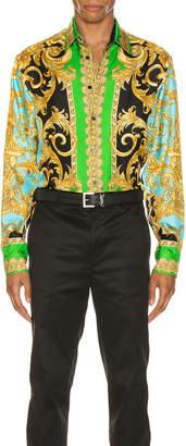 Versace Long Sleeve Print Shirt in Green & Blue | FWRD