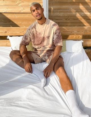 ASOS DESIGN lounge pyjama set in tonal tie dye