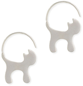 Silvertone Cat Hoop Earrings