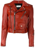 Saint Laurent classic biker jacket - women - Cotton/Lamb Skin/Cupro/metal - 38