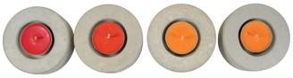 Rough Fusion No.2 Round Concrete Tea Light Candle Holders, Set of 4, Natural Concre