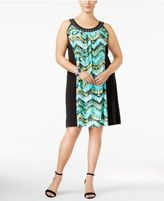 NY Collection Plus Size Printed Embellished Dress