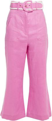 Zimmermann Belted Linen Kick-flare Pants