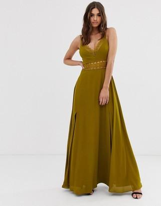 Asos Design DESIGN maxi dress with guipure lace waist trim-Green