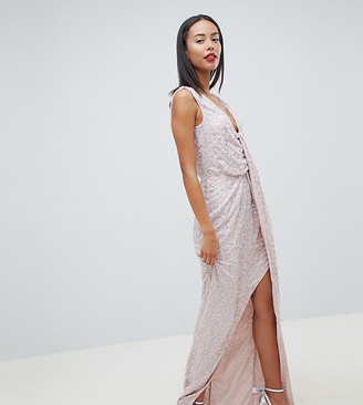 Asos Tall ASOS DESIGN Tall drape knot front scatter embellished sequin maxi dress