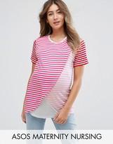 Asos NURSING T-Shirt with Wrap Overlay in Pink Stripe