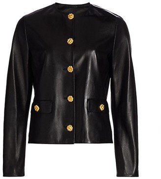 St. John Leather Button Jacket
