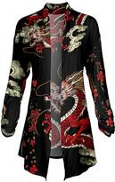 Lily Women's Open Cardigans BLK - Black & Red Floral Pointed-Hem Open Cardigan - Women & Plus