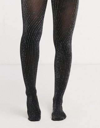 Gipsy glitter sparkle ribbed tights in black