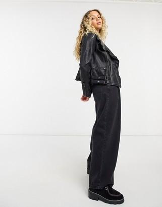 Free People Cleo Hooded vegan suede jacket in black