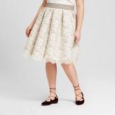 3Hearts Women's Plus Size Floral Print A-Line Skirt Natural - 3Hearts (Juniors')