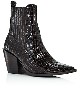Aqua Women's Star Croc-Embossed Western Booties - 100% Exclusive