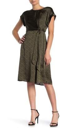 Bobeau Cap Sleeve Waist Tie Dress