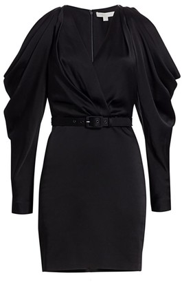 Jonathan Simkhai Cold-Shoulder Faux-Wrap Mini Puff-Sleeve Dress