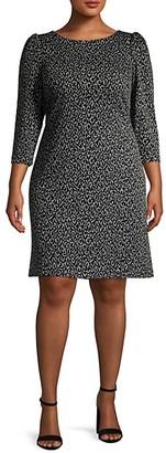 Calvin Klein Plus Balloon-Sleeve Leopard Jacquard Dress