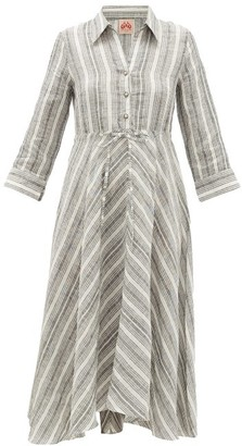 Le Sirenuse Positano Le Sirenuse, Positano - Lucy Drawstring Striped-linen Shirt Dress - Grey Stripe