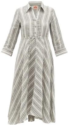 Le Sirenuse Le Sirenuse, Positano - Lucy Drawstring Striped-linen Shirt Dress - Womens - Grey Stripe