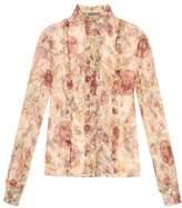 Alexander McQueen Medieval floral silk-georgette blouse