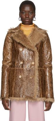 Sies Marjan Reversible Tan Shearling Pippa Coat