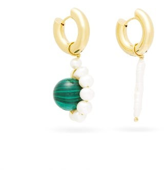 Timeless Pearly Mismatched Pearl & Malachite Hoop Earrings - Pearl