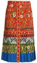 Tory Burch Floral-Print Stretch-Cotton Midi Skirt