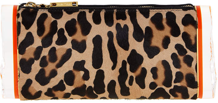 Edie Parker Soft Lara Leopard-Print Calf Hair Clutch Bag, Multicolor