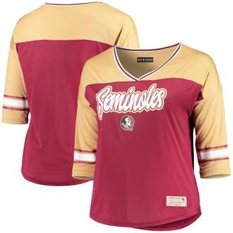 New Era Women's 5th & Ocean by Garnet Florida State Seminoles Plus Size Mesh 3/4-Sleeve T-Shirt