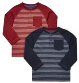 F&F 2 Pack of Striped Long Sleeve Henley T-Shirts, Boy's