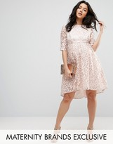 Chi Chi Maternity Chi Chi London Maternity Allover Lace Dress With Dip Hem