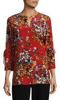 Lafayette 148 New York Azalea Print Silk Sela Blouse