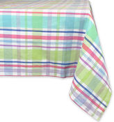 DESIGN IMPORTS Spring Plaid Round Cotton Tablecloth