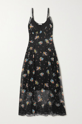 Paco Rabanne Lace-trimmed Floral-print Silk-chiffon Dress - Black