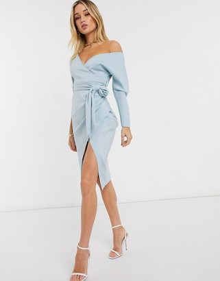 ASOS DESIGN bardot wrap batwing sleeve midi dress with self tie belt in soft blue
