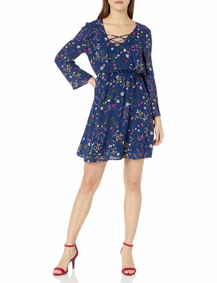 Paris Sunday Women's Bell Sleeve Lace Up A-Line Georgette Dress