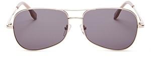 Le Specs Luxe Unisex Krill Brow Bar Aviator Sunglasses, 57MM