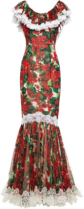 Dolce & Gabbana Lace-trimmed Floral-print Silk-blend Voile Gown