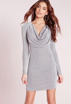 Missguided Slinky Cowl Front Bodycon Dress Grey