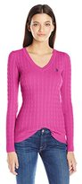 U.S. Polo Assn. Women's Cable Knit V-Neck Pullover Sweater