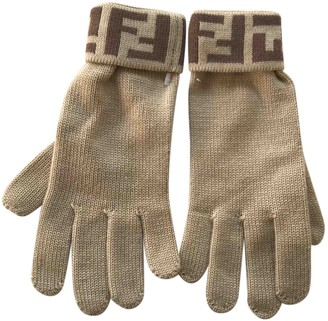 Fendi Beige Wool Gloves