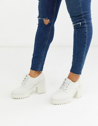 ASOS DESIGN Pupil chunky lace up heeled shoes in white