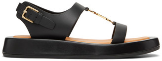 Burberry Black Leather Monogram Flat Sandals