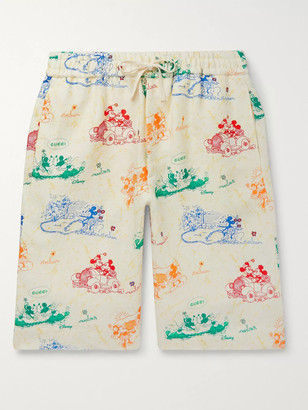 Gucci Wide-Leg Printed Linen Shorts