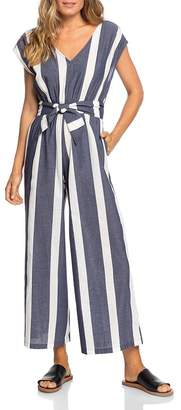 Roxy Same Old Blues Striped Jumpsuit